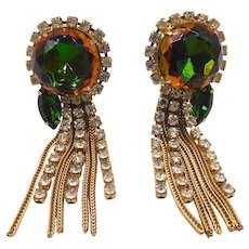 Vintage Watermelon Rhinestone Chain Dangles Chandelier Clip Earrings