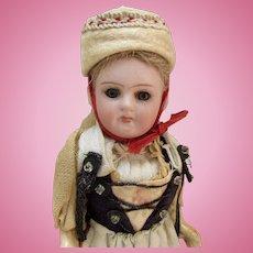 "5"" German Bisque Girl in Original Ethnic Costume"