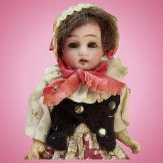 "5"" German Bisque Girl in Original Ethnic Costume 2"