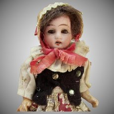"5"" German Bisque Girl in Original Ethnic Costume 2"