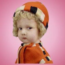 """16"""" Rare Early Lenci 300 Series Boy/Girl in Orange"""