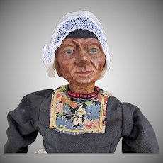 "16"" Carved Wooden Doll by Huggler, Switzerland"