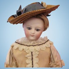 "13"" French Bisque Poupee with Endearing Expression"