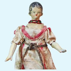 8 inch Grodnertal Wooden Doll with Aristocratic Provenance