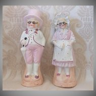 German Bisque Pair with Wire Glasses