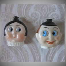 Pair of German Googly Eye Perfume Flasks by Hertwig