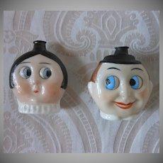 Pair of German Googly Eye Perfume Flasks by Hertwig