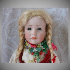 "All Original Kammer & Reinhardt Bisque Head Character Doll 114 ""Gretchen"" with Glass Eyes and Ethnic Costume"