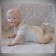 Gebruder Heubach German All Bisque Piano Baby on Stomach