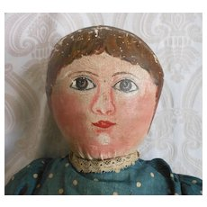 Early Folk Art Oil Painted Cloth Doll - Red Tag Sale Item