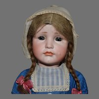 German Bisque Kammer & Reinhardt Character Doll 114 Gretchen with Rare Glass Eyes