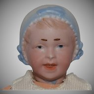 German Bisque Head Bonnet Baby by Recknagel