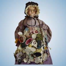 Museum Quality All Original English Wax Peddler Doll