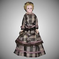 All Original Wax Over Composition Lady Doll with Unusual Snood