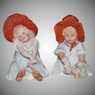 Gebruder Heubach Pair of Bonnet Girl Piano Babies