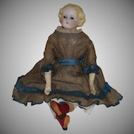 German Simon & Halbig Parian Bisque Head Doll with Glass Eyes and a Swivel Neck