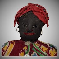Black Cloth Doll with Black Jet Eyes