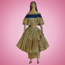 All Original German Milliner's Model Papier Mache Doll with Provenance