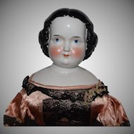 German Glazed Porcelain China Head Doll by Kister