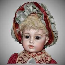 French Bebe Circle Dot Bru Bisque Head Doll
