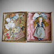 Sweet German All Bisque Doll in Presentation Box