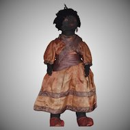 Black Cloth Doll with Embroidered Facial Features