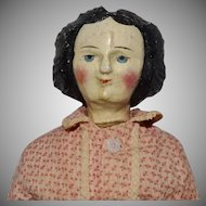 German Carved Wooden Head Doll