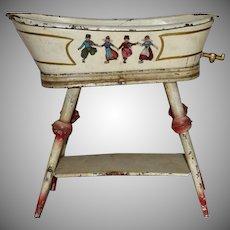Tin Two Piece Doll Bath Tub with Dutch Children Decoration