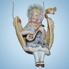 German All Bisque Swinger Girl Playing and Stringed Musical Instrument