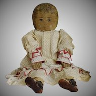 Large Early Cloth Doll with Oil Painted Head