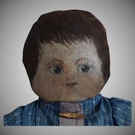 Oil Painted Head Cloth Doll in Blue Dress