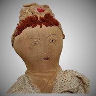 Great Early Cloth Topsy Turvy Doll