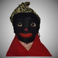 Black Sateen Cloth Doll with Embroidered Features