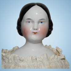 German Doll with Covered Wagon Hairstyle Kister China Shoulder Head