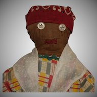 American Folk Art Brown Cloth Doll