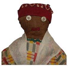 American Folk Art Brown Cloth Doll