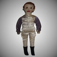 Vintage Cloth Jockey Doll in Silks