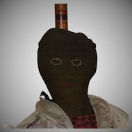 Antique Black and Brown Cloth Folk Art Broom Doll