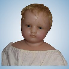 Antique English Wax Child Doll with Glass Eyes