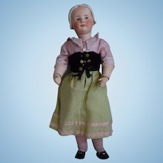 All Original German Bisque Head Character Girl Doll with Molded Bonnet by Gebruder Heubach