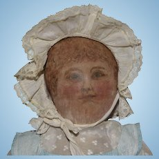 Antique Ink Drawn Primitive Face Cloth Doll