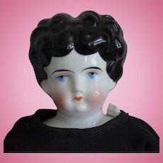 Black Hair German China Head Doll by Hertwig
