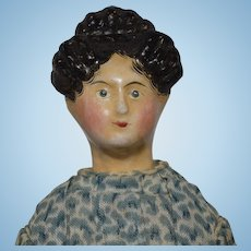Early German Papier Mache Doll with Fancy Hairstyle
