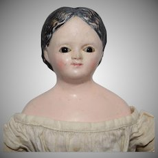 German Papier Mache Young Girl with Glass Eyes