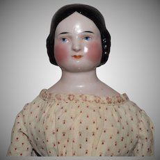 German Covered Wagon Hairstyle China Head Doll by Kister