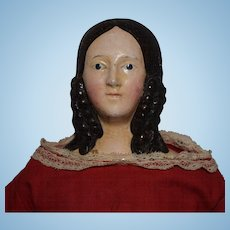 German Papier Mache Doll with Side Curls and Bun Hairstyle