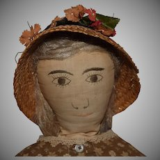 Antique Blonde Hair Cloth Doll with Embroidered Face