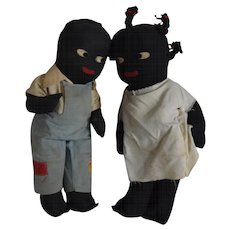 Vintage Pair of Black Cloth Dolls