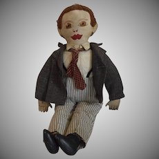 Vintage Cloth Man Doll with Embroidered Face