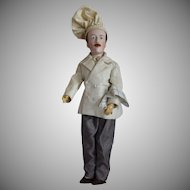 "French Bisque Head Character Doll ""Chef"" by Lanternier"